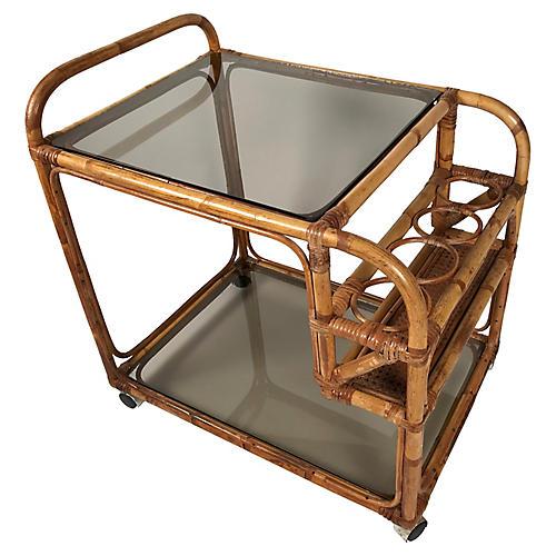 Rattan & Smoked Glass Bar Cart