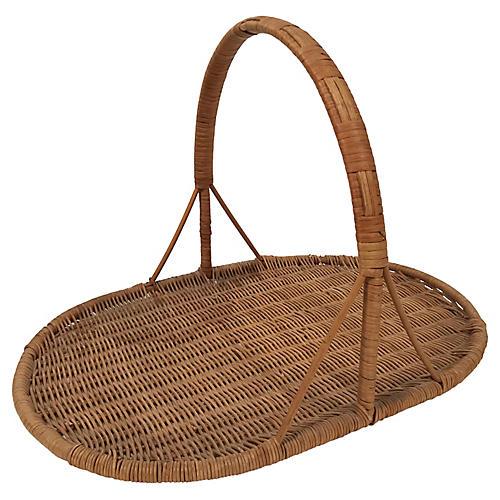 Rattan Flat Flower Basket