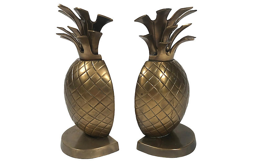 Brass Pineapple Bookends, Pair