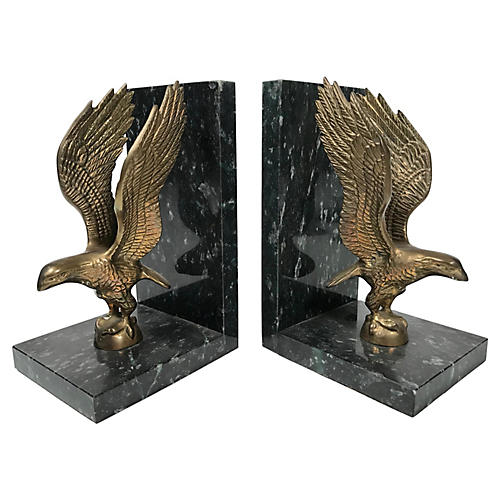 Marble & Brass Eagle Bookends, Pair