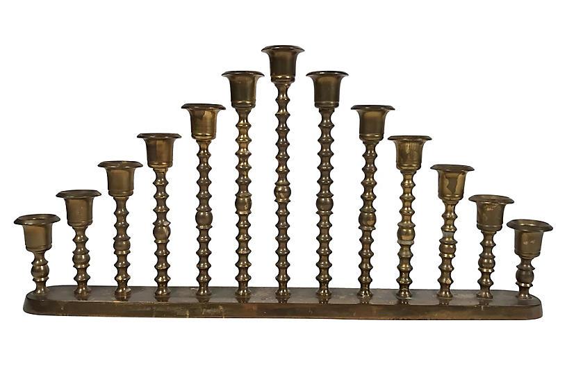 Graduated Brass Candlesticks on Stand