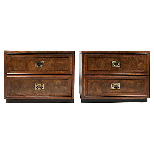 Campaign Side Tables, Pair