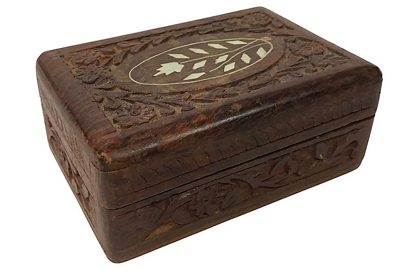 Wooden Box w/ Ivory Inlay