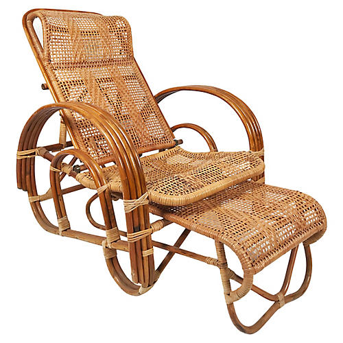 Rattan Reclining Lounge Chair & Ottoman