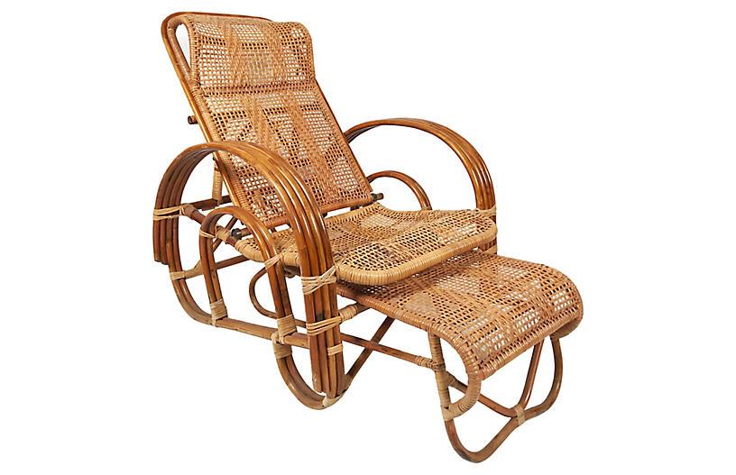 Rattan Reclining Lounge Chair & Ottoman