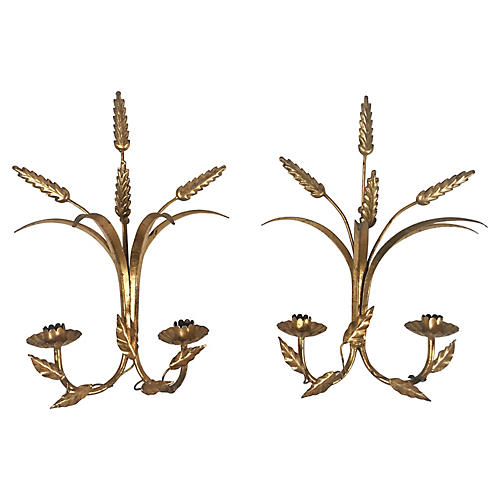 Italian Gilt Wheat Sconces, Pair