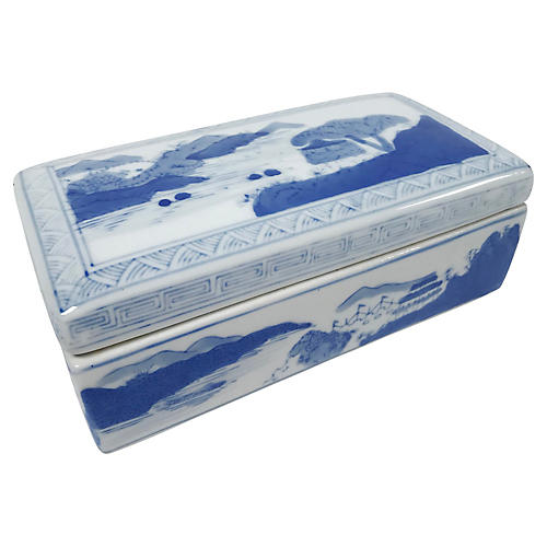 Blue & White Ceramic Box