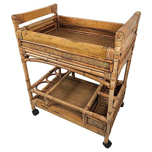 Wood & Wicker Bar Cart