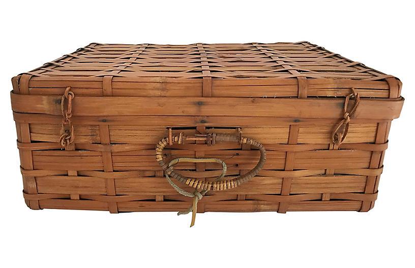 Woven Reed Handled Picnic Basket