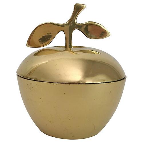 MCM Brass Apple Jar with Leafed Stem