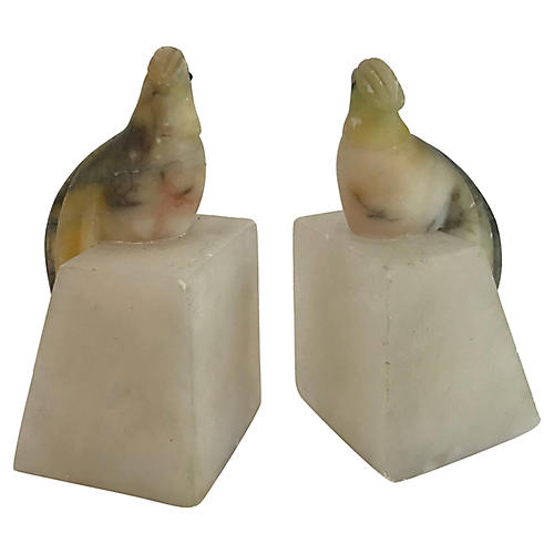 Italian Alabaster Bird Bookends, Pair