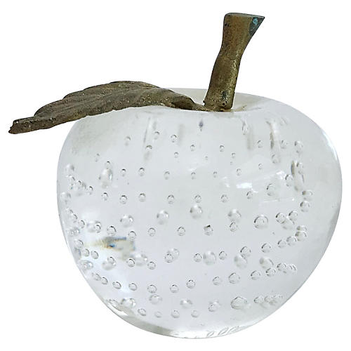 Vintage Glass Apple Paper Weight