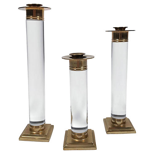 Lucite and Brass Candleholders, s/3