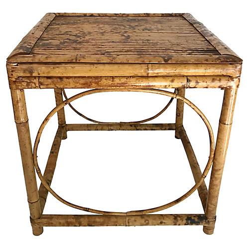 English Burnt Bamboo Side Table