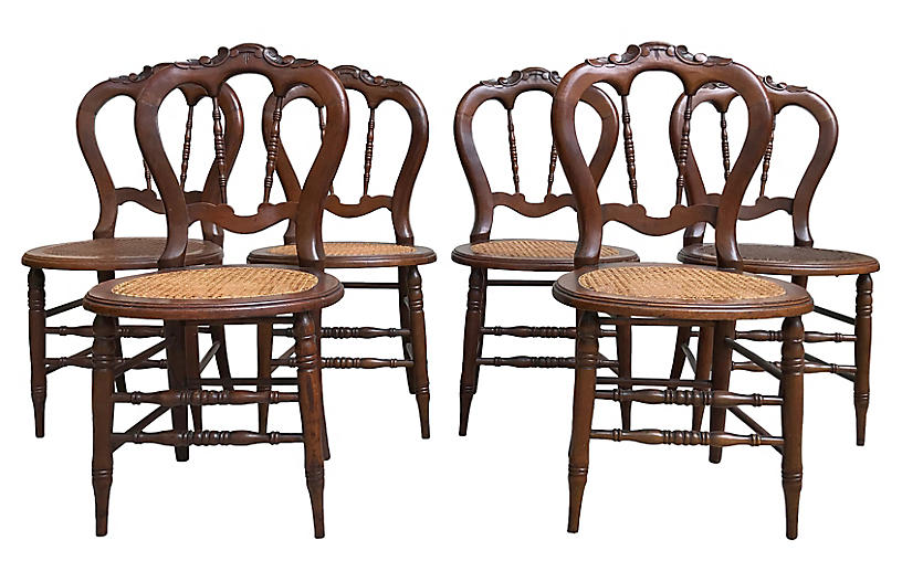Victorian Caned Chairs, S/6