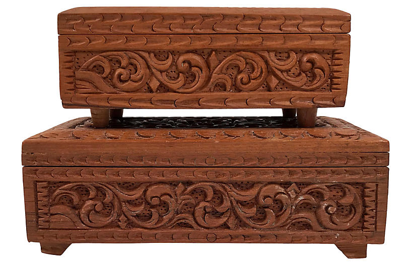 Carved Wood Stacking Boxes, S/2