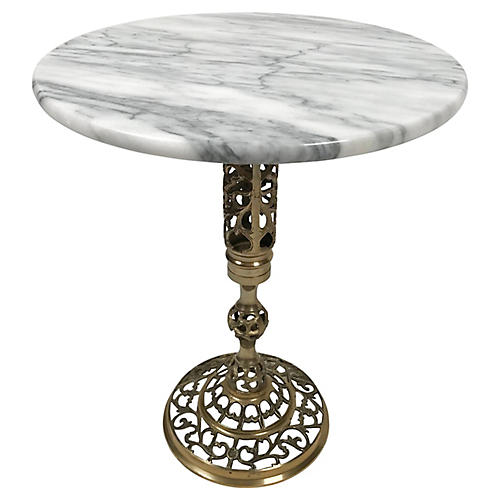 Marble Table w Brass Filigree Base
