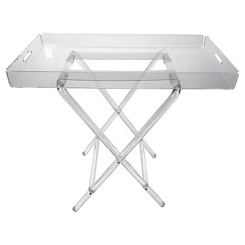 Lucite Folding Tray Table