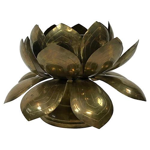 Brass Lotus Candleholder