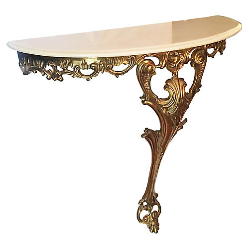 Rococo Style Brass Wall Console