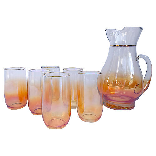 Iridescent Ombre Pitcher w Glasses, s/7