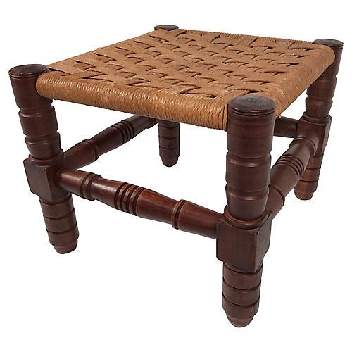 Turned Wood and Jute Footstool