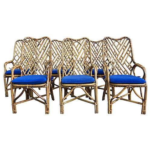 Chinioserie Rattan Dining Chairs, s/6