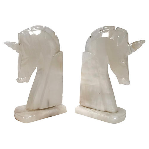 Marble Unicorn Bookends, Pair