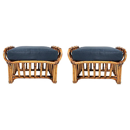 Architectural Rattan Stools, Pair