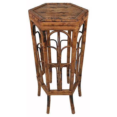 Large Burnt Bamboo Plant Stand