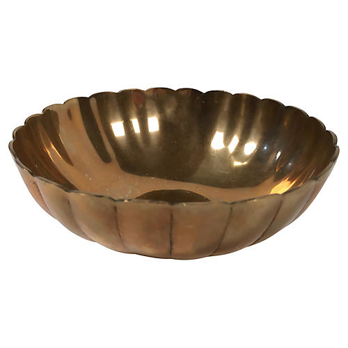 Scalloped Brass Bowl