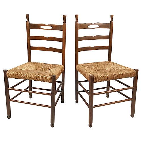 Wood and Rush Chairs, pair