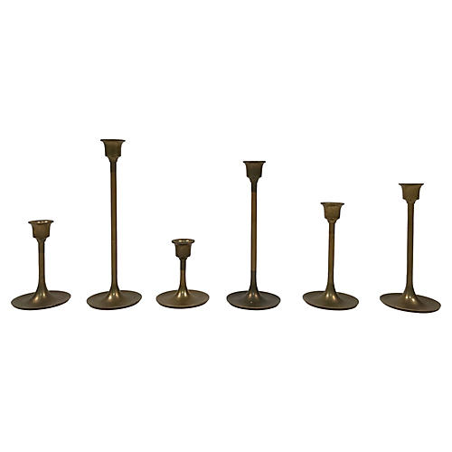 Midcentury Brass Candlesticks, S/6