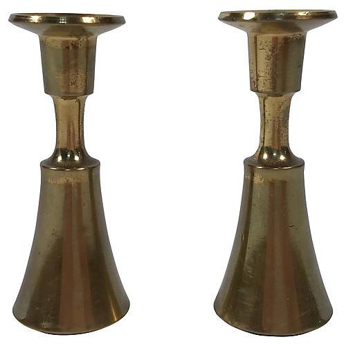 Dansk Brass Candleholders, Pair