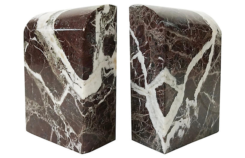 Domed Onyx Bookends, pair