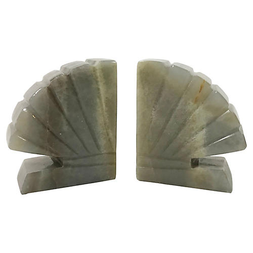 Onyx Shell Bookends, Pair
