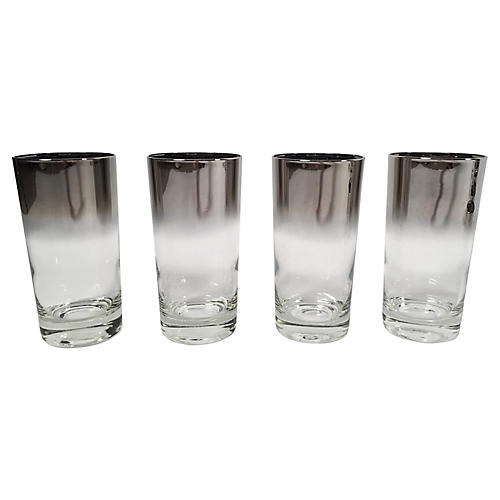 Silver Ombré Highball Glasses, S/4