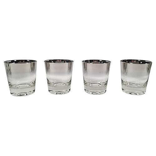 Silver Ombré Cocktail Glasses, S/4