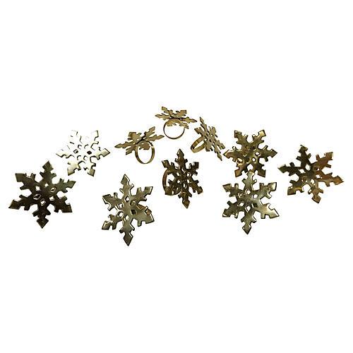 Brass Snowflake Napkin Rings, s/10