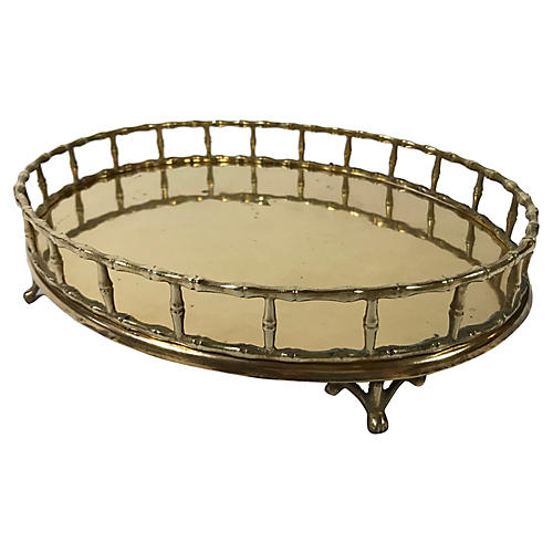 Footed Faux Bamboo Brass Tray