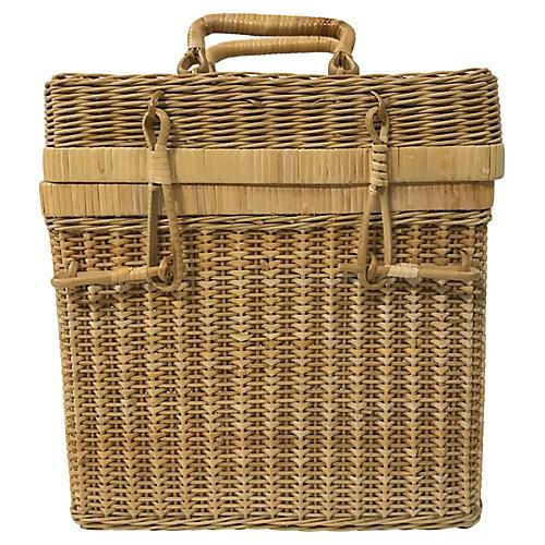 Lidded Wicker Wine Basket