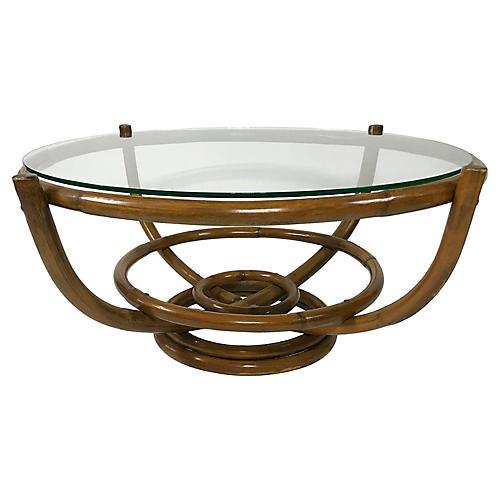 Mid Century Modern Bamboo Coffee Table