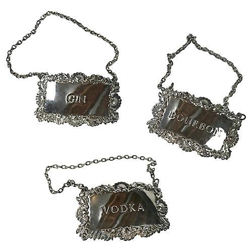 Silver-Plate Liquor Tags, S/3