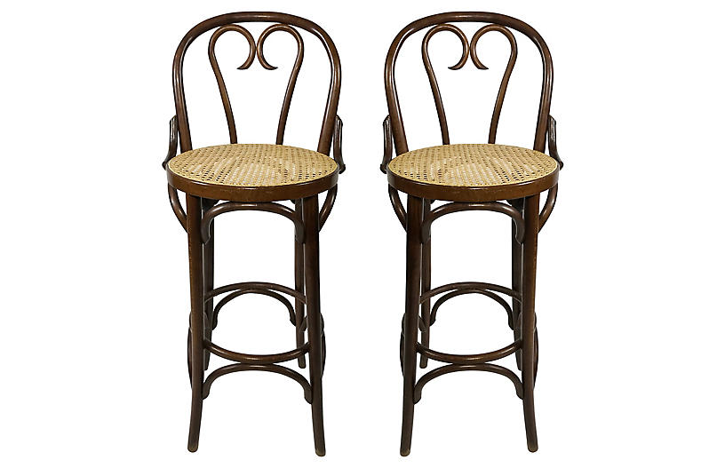 Caned Bentwood Stools, Pair