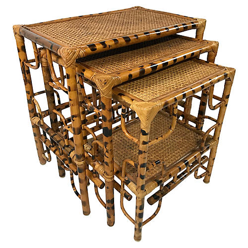 Tiger Wood Bamboo Nesting Tables, S/3