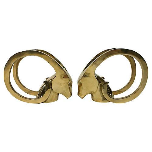 Brass Rams Head Bookends, Pair