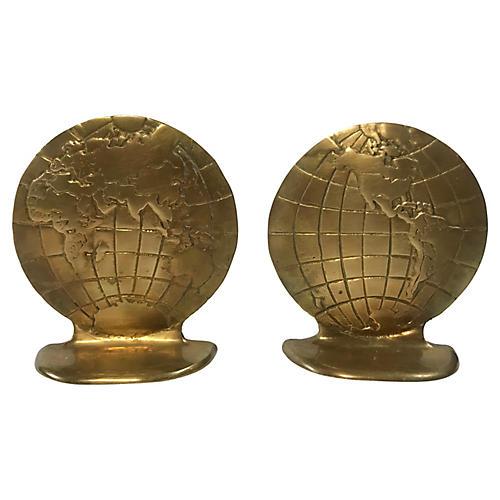 Brass Globe Bookends, Pair