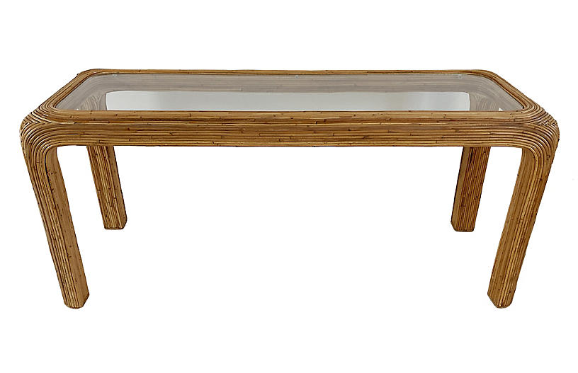 Split Reed Console Table, Glass Top