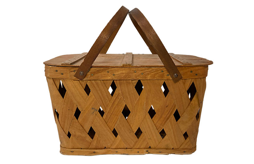 Woven Handled Picnic Basket