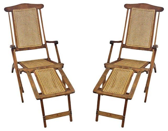 Antique Caned Lounge Chairs, Pair